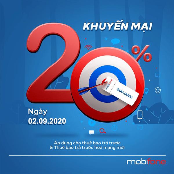 Mobifone khuyến mãi 2/9/2020 NGÀY VÀNG nạp thẻ tặng 20% giá trị tiền nạp