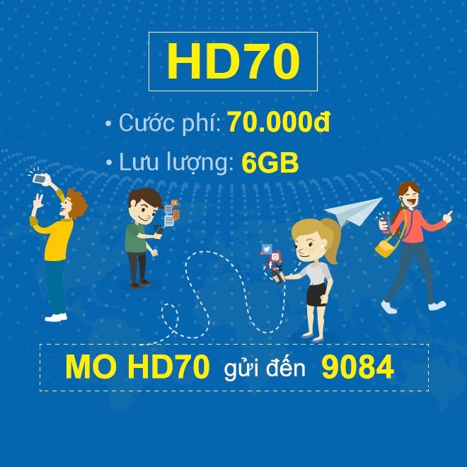 Đăng ký gói HD70 Mobifone ưu đãi 6GB data giá chỉ 70.000đ