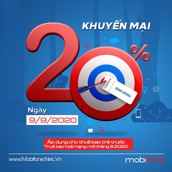 Khuyến mãi Mobifone ngày 9/9/2020 tặng  20% giá  trị thẻ nạp