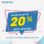 Mobifone khuyến mãi 30/9/2020 NGÀY VÀNG nạp thẻ tặng 20% giá trị tiền nạp