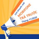 Lịch khuyến mãi nạp thẻ Mobifone trả trước tháng 11/2020 ưu đãi 20% giá trị thẻ nạp