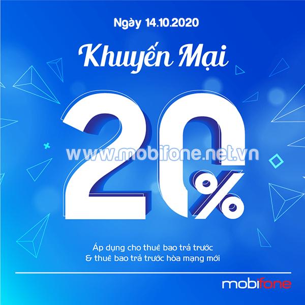 Mobifone khuyến mãi 14/10/2020 NGÀY VÀNG tặng 20% giá trị tiền nạp