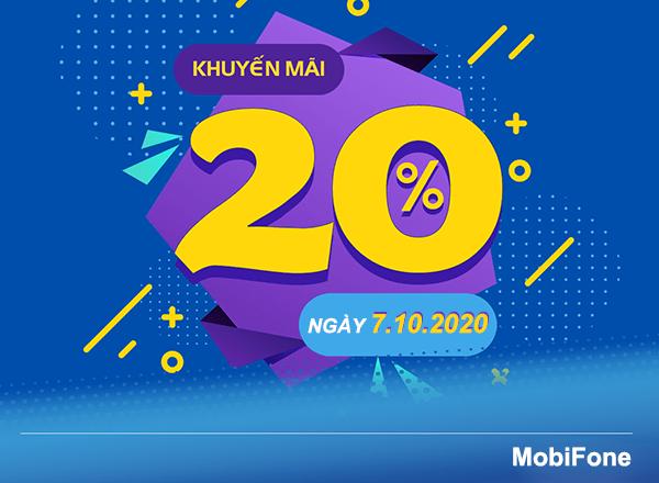Mobifone khuyến mãi 7/10/2020 NGÀY VÀNG tặng 20% giá trị tiền nạp