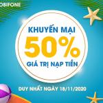Khuyến mãi Mobifone 18/11/2020 NGÀY VÀNG tặng 20% giá trị tiền nạp