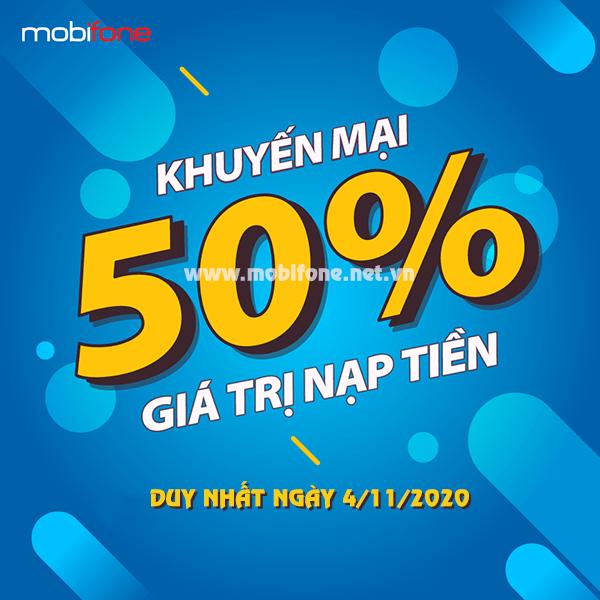 Mobifone khuyến mãi 4/11/2020 ưu đãi khủng 20% - 50% giá trị tiền nạp