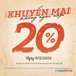 Mobifone khuyến mãi 9/12/2020 NGÀY VÀNG tặng 20% giá trị tiền nạp