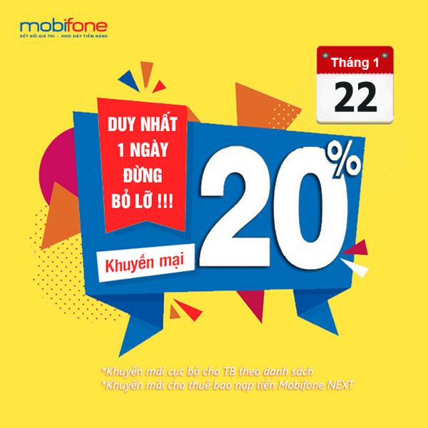 Mobifone khuyến mãi 22/1/2021 tặng 20% giá trị tiền nạp với 2 chương trình ưu đãi