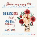 Cách đăng ký gói D83 Mobifone chỉ 8.000đ nhận ngay 3GB data
