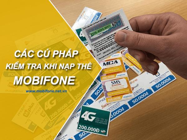 Các cú pháp kiểm tra khi nạp thẻ Mobifone