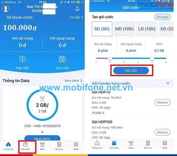 Cách tự tạo gói Mobifone khuyến mãi qua app My Mobifone