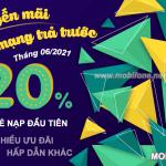 Mobifone khuyến mãi hòa mạng trả trước tháng 6/2021 tặng 20% giá trị thẻ nạp đầu tiên