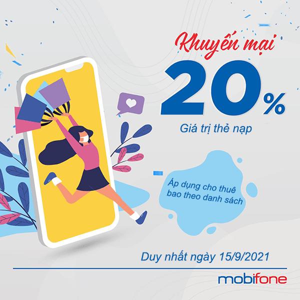 Mobifone khuyến mãi 15/9/2021 ưu đãi 20% giá trị thẻ nạp cục bộ