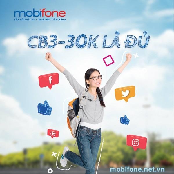 Đăng ký gói cước CB3 Mobfione chỉ 30.000đ/tháng