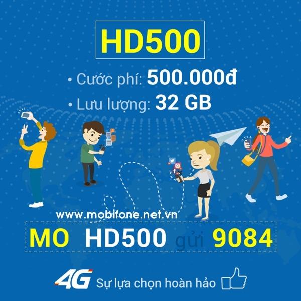 Đăng ký gói cước HD500 Mobifone gói 4G cho thuê bao di động