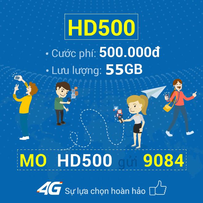 Đăng ký gói cước HD500 Mobifone chỉ 500.000đ/tháng