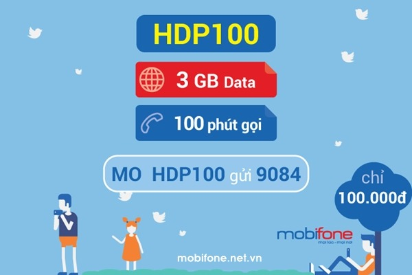 Đăng ký gói cước data plus 4G Mobifone HDP100 Mobifone