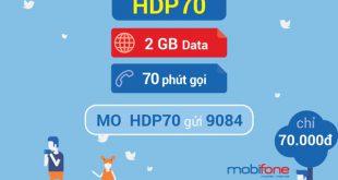 Đăng ký gói cước HDP70 Mobifone chỉ 70.000đ