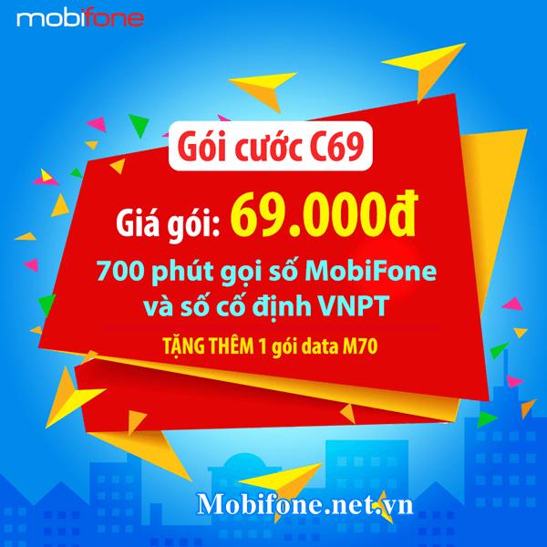 Hòa mạng trả sau gói C69 Mobifone chỉ 69.000đ/chu kỳ