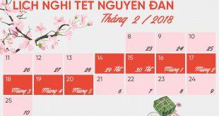 Lịch nghỉ Tết Nguyên đán Mậu Tuất 2018 gồm 7 ngày