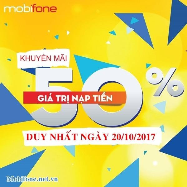 Mobifone khuyến mãi 20/10/2017 tặng 50% tiền nạp