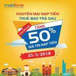 Mobifone khuyến mãi 25/5/2018 ưu đãi 50% thẻ nạp