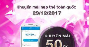 Mobifone khuyến mãi 29/12/2017 tặng 50% thẻ nạp