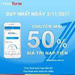 Mobifone khuyến mãi 3/11/2017 tặng 50% tiền nạp