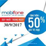 Mobifone khuyến mãi ngày 30/9/2017 có điều kiện