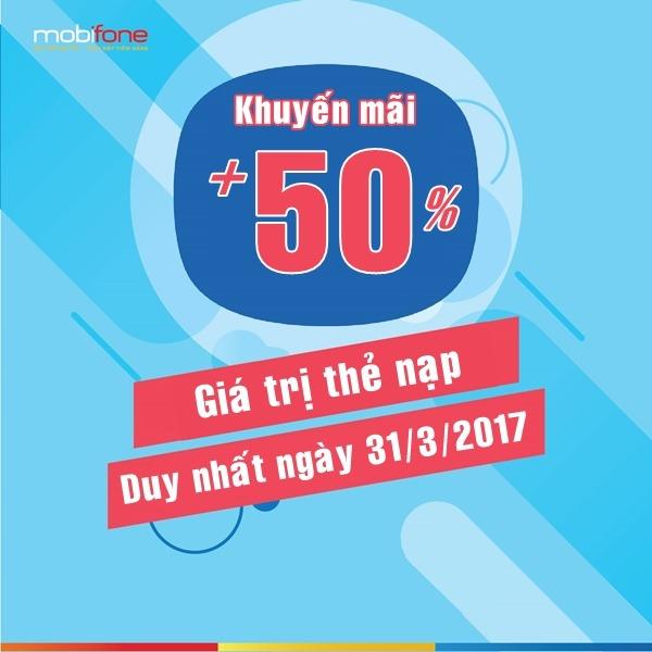 Mobifone khuyến mãi 50% thẻ nạp ngày 31/3