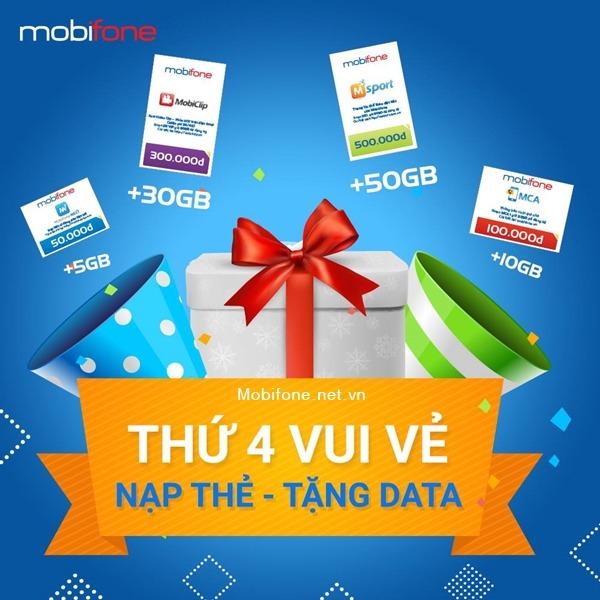 Mobifone khuyến mãi thứ 4 vui vẻ ưu đãi nạp thẻ tặng data