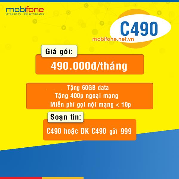 Đăng ký gói cước C490 Mobifone ưu đãi data và nhiều phút gọi