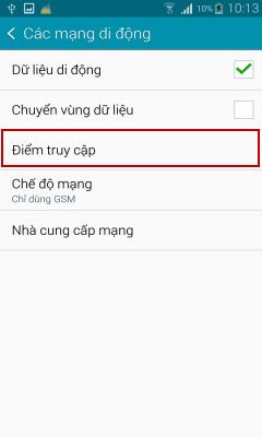 cài đặt tên điểm truy cập APN Mobifone