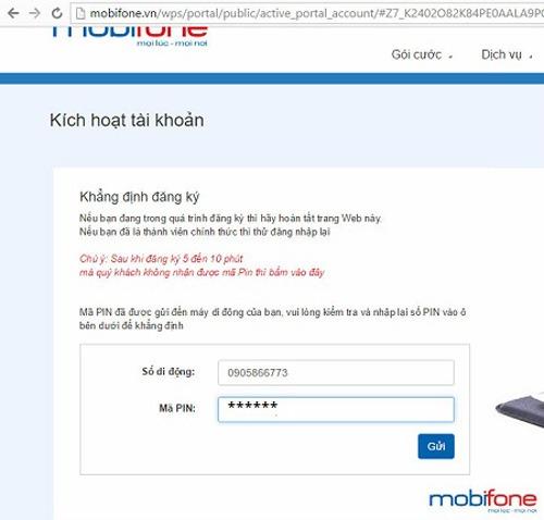 đăng ký tài khoản Portal Mobifone