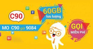 Đăng ký gói C90 Mobifone chỉ 90.000đ gọi + 60GB data thả ga
