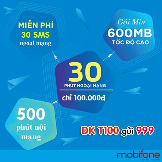Đăng ký gói cước T100 Mobifone