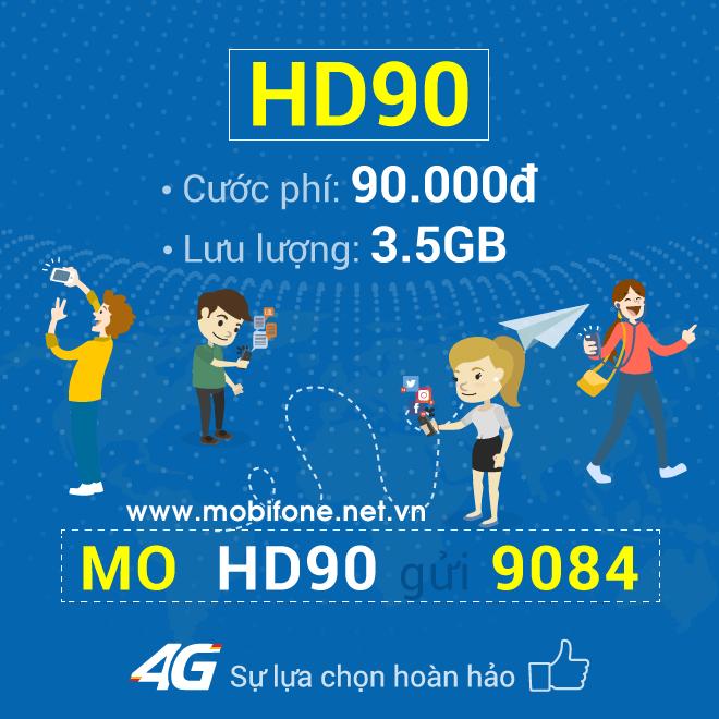 Đăng ký gói cước HD90 Mobifone chỉ 90.000đ