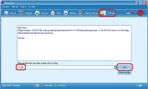 kiểm tra tài khoản trên Dcom, USB 3G Mobifone
