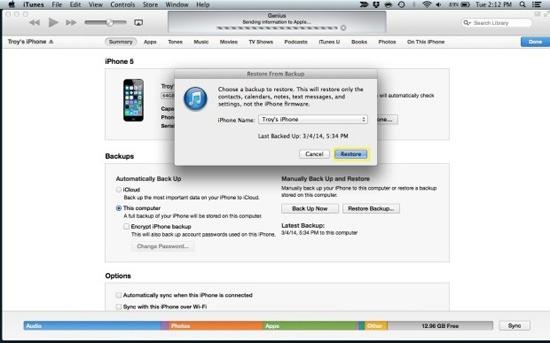 lấy lại mật khẩu cho iPhone