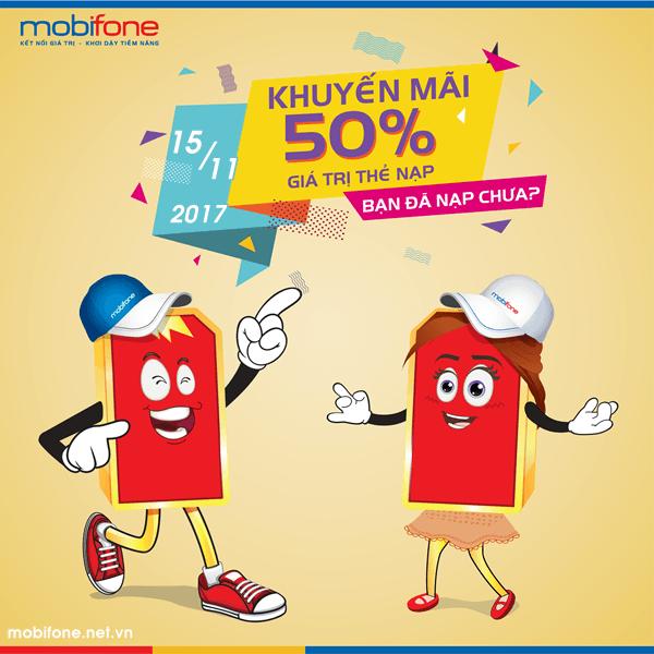 Mobifone khuyến mãi 15/11/2017 tặng 50% thẻ nạp