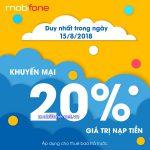 Mobifone khuyến mãi 15/8/2018 ưu đãi 20% thẻ nạp