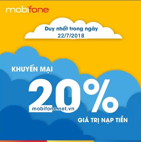 Mobifone khuyến mãi 22/7/2018 ưu đãi cục bộ
