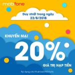 Mobifone khuyến mãi 22/8/2018 ưu đãi 20% giá trị tiền nạp