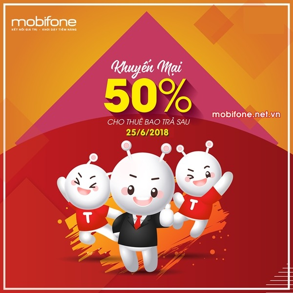 Mobifone khuyến mãi 25/6/2018 cho thuê bao trả sau