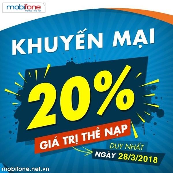 Mobifone khuyến mãi 28/3/2018 ưu đãi cục bộ