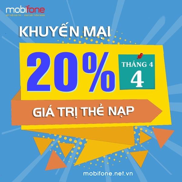 Mobifone khuyến mãi ngày 4/4/2018 ưu đãi 20% giá trị thẻ nạp