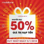 Mobifone khuyến mãi 5/1/2018 ưu đãi cục bộ