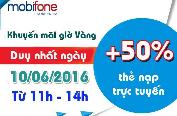 Khuyến mãi 50% nạp tiền trực tuyến Mobifone