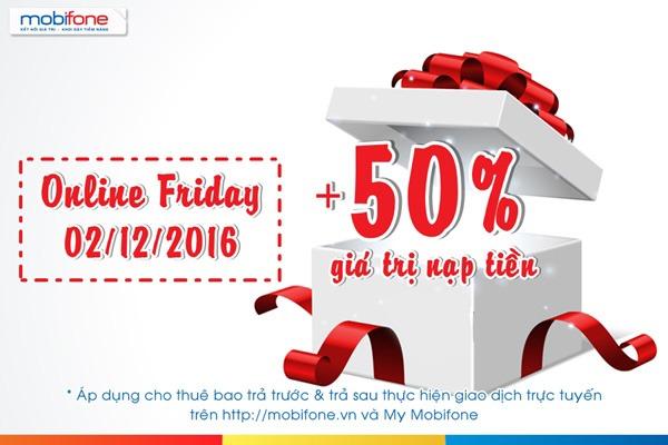 khuyến mãi 50% giá trị thẻ nạp trực tuyến Mobifone duy nhất ngày 2/12