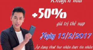 Mobifone khuyến mãi ngày 15/2 tặng 50% giá trị thẻ nạp
