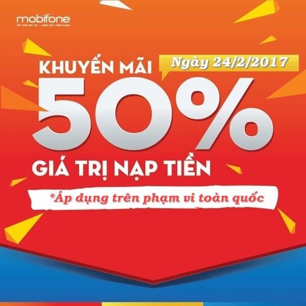 Mobifone khuyến mãi duy nhất ngày 24/2 tặng 50% giá trị thẻ nạp